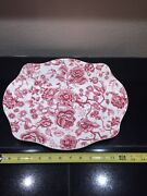 Johnson Brothers English Chippendale Red/pink Oval Serving Platter Tray 13.75