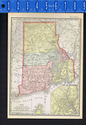 Rhode Island 1895 Antique State Map With County And City Lists
