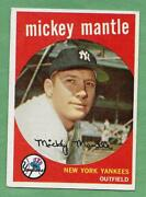 1959 Topps 10 Mickey Mantle Yankees In Very Good To Excellent Condition