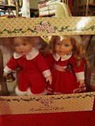 Porcelain Doll Made By Crowne. Collectors Dolls. Dressed For Christmas.