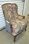 Mint Ethan Allen Camille Chair Upholstered Bergere Blue Floral 13-7127 1999