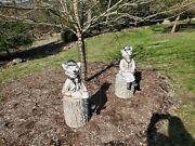 Rare Pair Of Sitting Boy And Girl Hunter Equestrian Concrete Foxes And Stumps 1960s