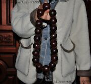 Old Chinese Natural Ox Horn Buddha Beads Statue Bracelet Rosary Prayer Beads