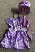 Disney Sofia The First Magic Surprise Mirror And Costume Dress Lot And Shoes