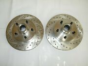 C10 1973-87 5 Lug Front Disc Brake Drilled And Slotted Rotors 12 X 1 1/4 Wide