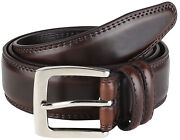 Menand039s Dress Belt All Genuine Leather Double Stitch Classic Design 35mm All Sizes