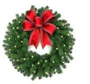 30 In Pre Lit Led Decorated Artificial Christmas Holiday Wreath Decor Idea