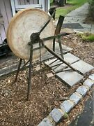 Rare Antique Heavy, Thick, And Solid Mill Tool Grinding Sharpening Stone Frame