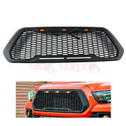 New Front Mesh Grill Grille Black And Led Lights Fit For 2016 - 2019 Toyota Tacoma