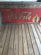 Large Vintage Metal Coca Cola Sign Andlsquo6 Feet X Andlsquo3 Feet Dated 1938 Antique Rare