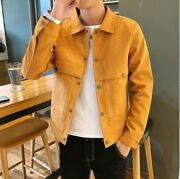 Mens Fall Slim Fit Jacket Long Sleeve Coatfashion Spring Casual Buttons Outwear