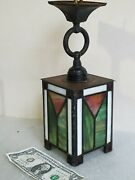 Vtg Arts And Crafts Mission Stain Glass Ceiling Light Shop Of Crafter Type Antique