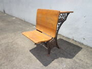 Antique Childrenand039s Chair Desk School Office Seating Stool Student Oak Wood