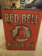 Rare Antique Red Bell Motor Oil Advertising Tin Oil Can - As Found