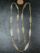 Vintage 18ct Gold Celtic Style Baton And Curb Link Necklace Chain 23 Inch C.2000