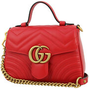 Gg Marmont Mini Top Handle Bag Quilted Leather Chevron Hibiscus Red Unused
