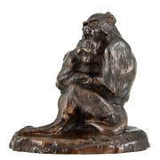 Antique French Bronze Sculpture Two Monkeys Thomas Franandccedilois 1900