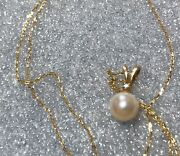 10k Solid Gold 16 Necklace Diamond 6mm Akoya Pearl Pendant