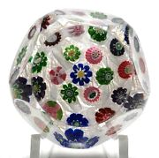 Antique Clichy Miniature Faceted Concentric Millefiori On Lace Paperweight Rose