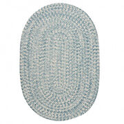 Howell Tweed Federal Blue White Oval Round Country Cottage Braided Rug