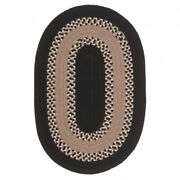 Corsair Banded Black Natural Wool Blend Oval Country Cottage Braided Rug