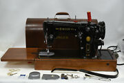 Vintage 1955 Singer 306k Sewing Machine And Knee Switch And Case - As Is