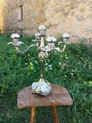 Silver Covered Vintage Candle Holder Large And Heavy Candlestick Holder