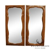 French Louis Xv Style Vintage Walnut Pair Wall Mirrors