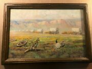 Rare Antique Signed Western Illustration Art Painting Of Pioneer Days And03934