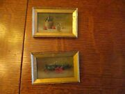 3 5/8 X 2 1/2 Antique Pair Of Miniature Oil Paintings For Dollhouse