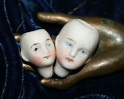 2 Antique Bisque Dollhouse Doll Heads C. 23 And 28 Mm