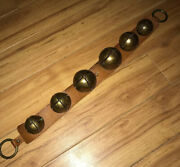 Antique Brass Jingle Sleigh Bells On A Primitive Leather Strap 6 Bells 26andrdquo