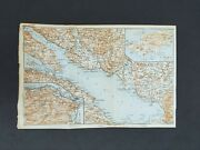 Antique Maps - Lake Constance Bodensee Lindau Germany - 1909