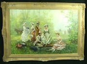 Vintage Alex Saval Impressionistic Oil On Canvas Doctor And Lady Playing Chess