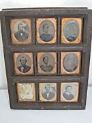 Antique 9 Ambrotype Photographs In A Wood Folk Art Frame Laconia, New Hampshire