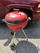 Vintage 22 Inch Weber Kettle Patio Grill Red Pat. 3538906 Original For Parts