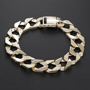 9 K Solid Yellow Gold Curb Bracelet -8.5-15mm-rrp Andpound2220 {b5_8.5_a} Hallmark...