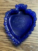 100 Year Old Cobalt Blue Spade Shaped Glass Ashtray Bowl Dish 1921 Etched R. B.