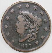 1817 1c N-17 Coronet Or Matron Head Large Cent Terminal Die State