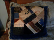 Antique Vintage Late 1800and039s Crazy Quilt Pillow Embroidery Velvet Silk Signed