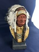 Daniel Monfort Original 1976 Sitting Bull Bust Western Sculpture Fig Rsp004499