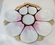 Antique Hand Painted Majolica Oyster Plate Seashell Design Pink White Gold