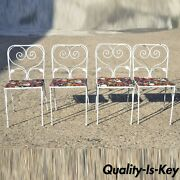 Salterini Leaf Scroll Wrought Iron Patio Garden White Dining Chairs - Set Of 4