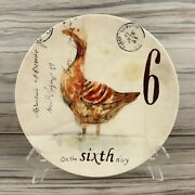 Williams Sonoma 12 Days Of Christmas Day Salad Dessert Plate 6th Geese Laying