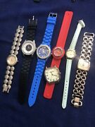 7 Geneva Watches Lot Chronograph Women's Silicone And Ss Bands All Work