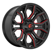 24x12 Fuel D712 Rage Gloss Black Red Tinted Clear Wheel 8x6.5 -44mm Set Of 4