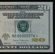 Rare 20 2017 Star Federal Reserve Note Nd00005576 160k Single Run Issue D4