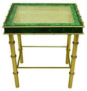 Malachite Emerald Green Gold Side Table Art Deco Accent End Bamboo Vintage Style