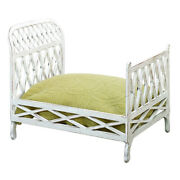 Antique White Iron Lattice Doll Bed Fretwork Vintage Style Country Cottage