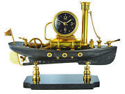 Luxe Vintage Style Ship Model Steamboat Mantel Clock Marble Black Gold Whimsical